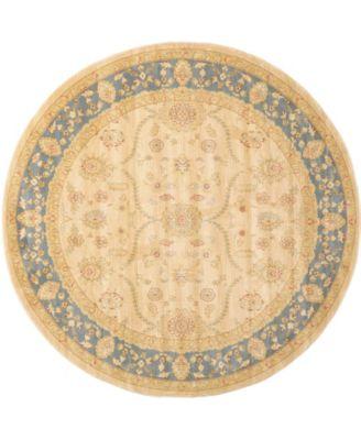 Orwyn Orw6 Beige/Blue 8' x 8' Round Area Rug