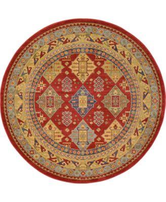 Harik Har2 Red 6' x 6' Round Area Rug
