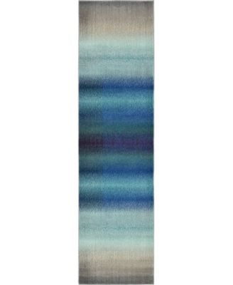 "Newwolf New1 Blue 2' 7"" x 10' Runner Area Rug"
