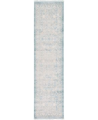"""Norston Nor1 Blue 2' 7"""" x 10' Runner Area Rug"""