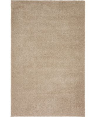 Salon Solid Shag Sss1 Taupe 5' x 8' Area Rug