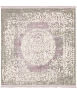Norston Nor4 Purple 4' x 4' Square Area Rug