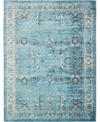 Linport Lin1 Turquoise/Ivory 10' x 13' Area Rug