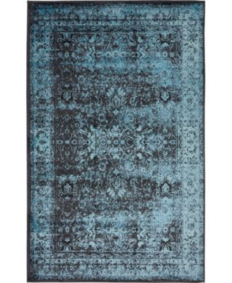 Linport Lin1 Turquoise/Black 5' x 8' Area Rug