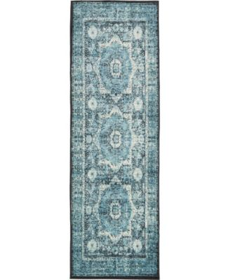"""Linport Lin7 Turquoise 3' x 9' 10"""" Runner Area Rug"""