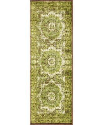Linport Lin7 Green 2' x 6' Runner Area Rug