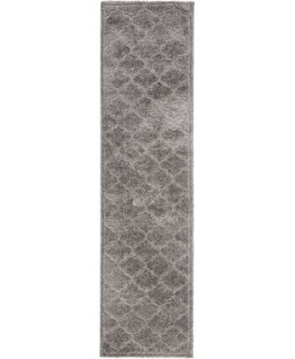 "Filigree Shag Fil2 Dark Gray 2' 7"" x 10' Runner Area Rug"