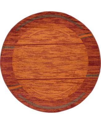 Jasia Jas11 Terracotta 8' x 8' Round Area Rug