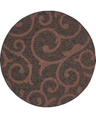 Pashio Pas7 Chocolate Brown 6' x 6' Round Area Rug
