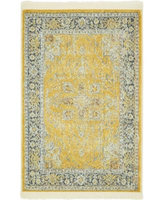 "Kenna Ken1 Yellow 2' 2"" x 3' Area Rug"