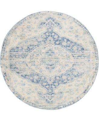 Agostina Ago2 Blue 8' x 8' Round Area Rug