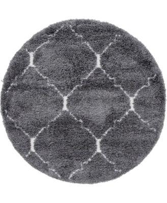 Fazil Shag Faz5 Gray 5' x 5' Round Area Rug