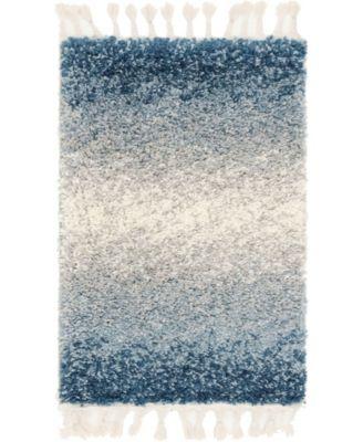 """Lochcort Shag Loc5 Blue 2' 2"""" x 3' Area Rug"""