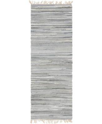 "Jari Striped Jar1 Gray 2' 2"" x 6' 7"" Runner Area Rug"