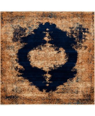 """Thule Thu2 Navy Blue 4' 5"""" x 4' 5"""" Square Area Rug"""
