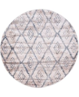 "Levia Lev2 Beige/Gray 4' 7"" x 4' 7"" Round Area Rug"