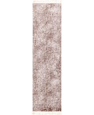 """Levia Lev3 Brown 3' 6"""" x 13' Runner Area Rug"""