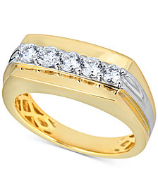 Men's Diamond Cluster Ring (3/4 ct. t.w.) in 10k Gold & 10k White Gold