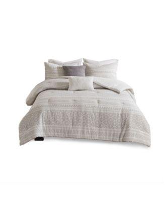 Lizbeth Full/Queen 5 Piece Cotton Clip Jacquard Comforter Set