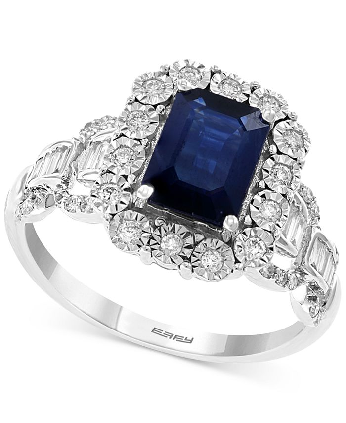 EFFY Collection - Sapphire (1-1/2 ct. t.w.) & Diamond (1/3 ct. t.w.) Statement Ring in 14k White Gold