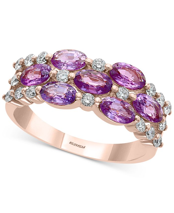 EFFY Collection - Purple Sapphire (1-7/8 ct. t.w.) & Diamond (1/3 ct. t.w.) Statement Ring in 14k Rose Gold
