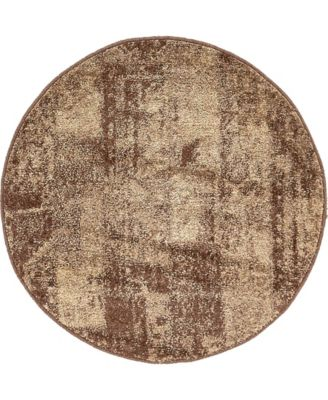 "Jasia Jas07 Brown 3' 3"" x 3' 3"" Round Area Rug"