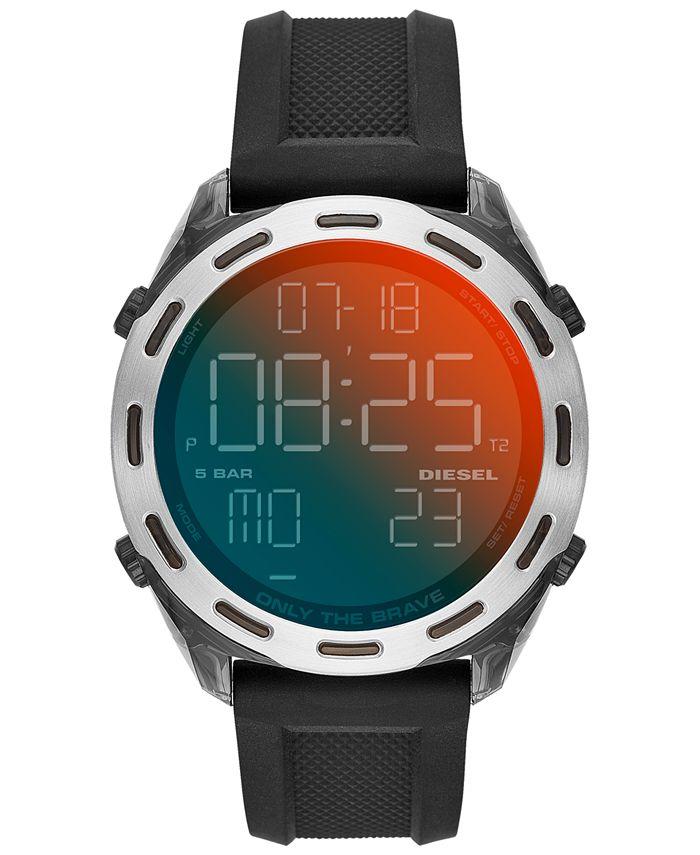 Diesel - Men's Digital Crusher Black Silicone Strap Watch 46mm