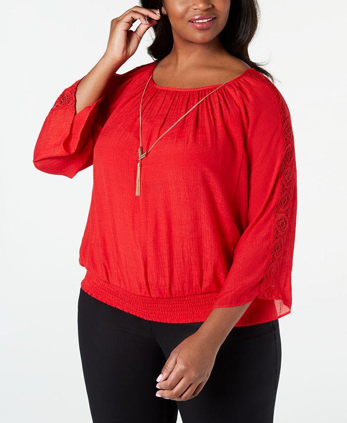 JM Collection - Plus Size Crochet-Sleeve Necklace Top