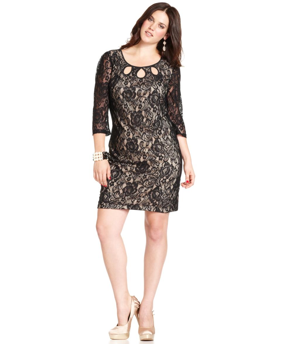 Trixxi Plus Size Dress, Three Quarter Sleeve Lace Keyhole