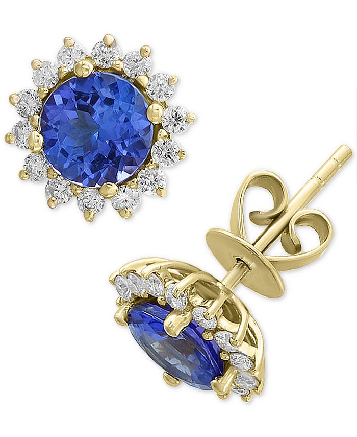 EFFY Collection - Tanzanite (1-1/2 ct. t.w.) & Diamond (1/3 ct. t.w.) Stud Earrings in 14k Gold
