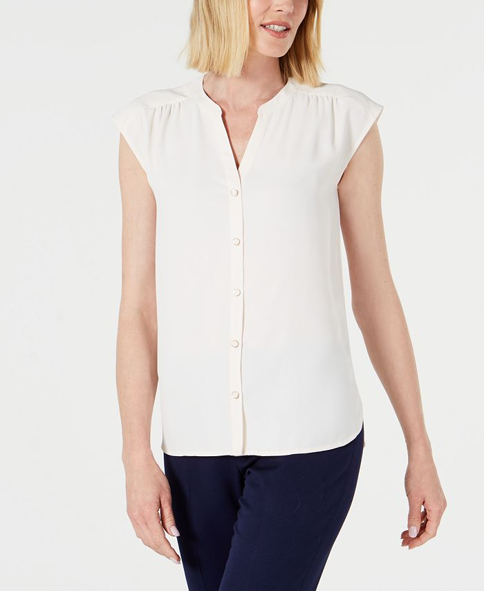 Anne Klein - Shirred-Seam Button-Up Blouse
