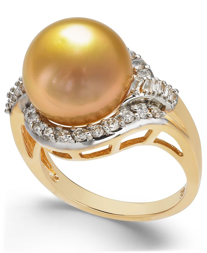 Macy's - Cultured Golden South Sea Pearl (12mm) and Diamond (5/8 ct. t.w.) Ring in 14k Gold