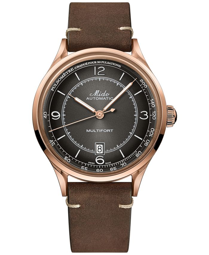 Mido - Men's Swiss Automatic Multifort Patrimony Pulsometer Brown Leather Strap Watch 40mm