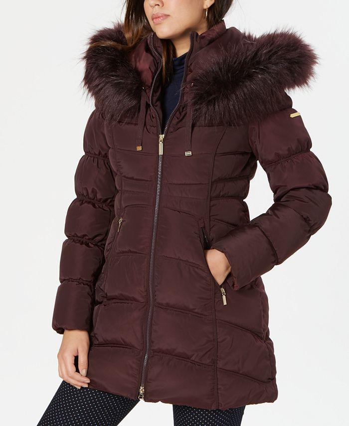 Laundry by Shelli Segal - Faux-Fur-Trim Hooded Puffer Coat