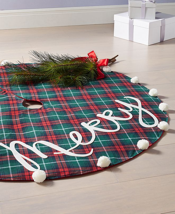 "Holiday Lane Tartan Plaid ""Merry"" Tree Skirt, Created for Macy's"