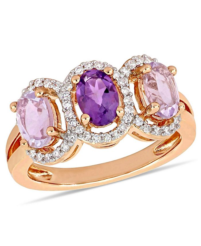 Macy's - Amethyst (1-5/8 ct.t.w.) and Diamond (1/5 ct.t.w.) 3-Stone Halo Ring in 18k Rose Gold over Sterling Silver