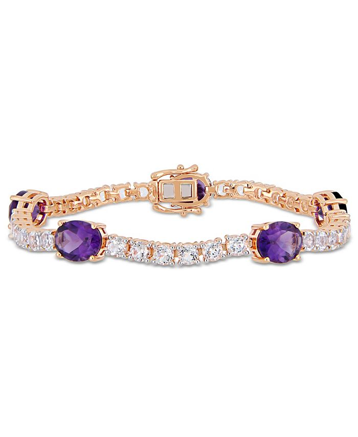 Macy's - Amethyst (12 ct.t.w.) and White Topaz (9 ct. t.w.) Station Link Bracelet in 18k Rose Gold over Sterling Silver