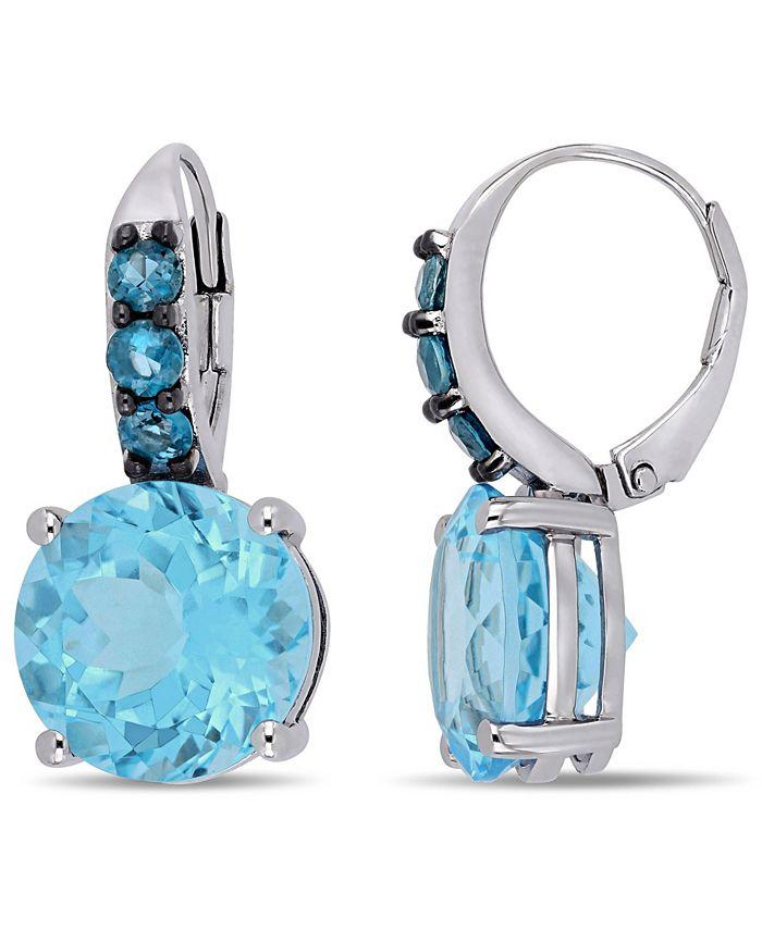 Macy's - Blue Topaz (15-1/4 ct.t.w.) Drop Earrings in Sterling Silver