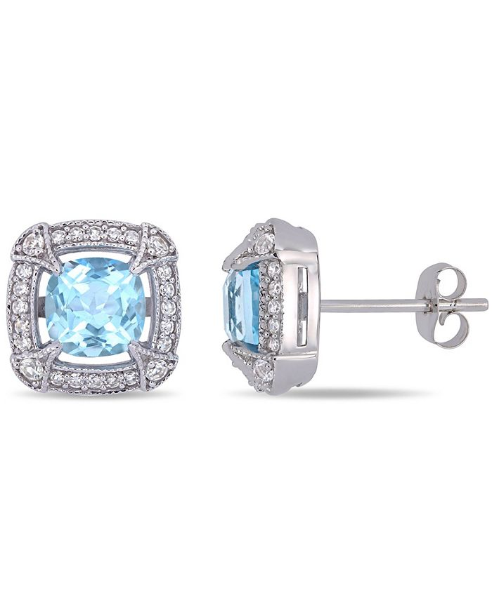 Macy's - Blue Topaz (2-3/8 ct.t.w.), White Sapphire (1/8 ct.t.w.) and Diamond (1/5 ct.t.w.) Halo Stud Earrings in 10k White Gold