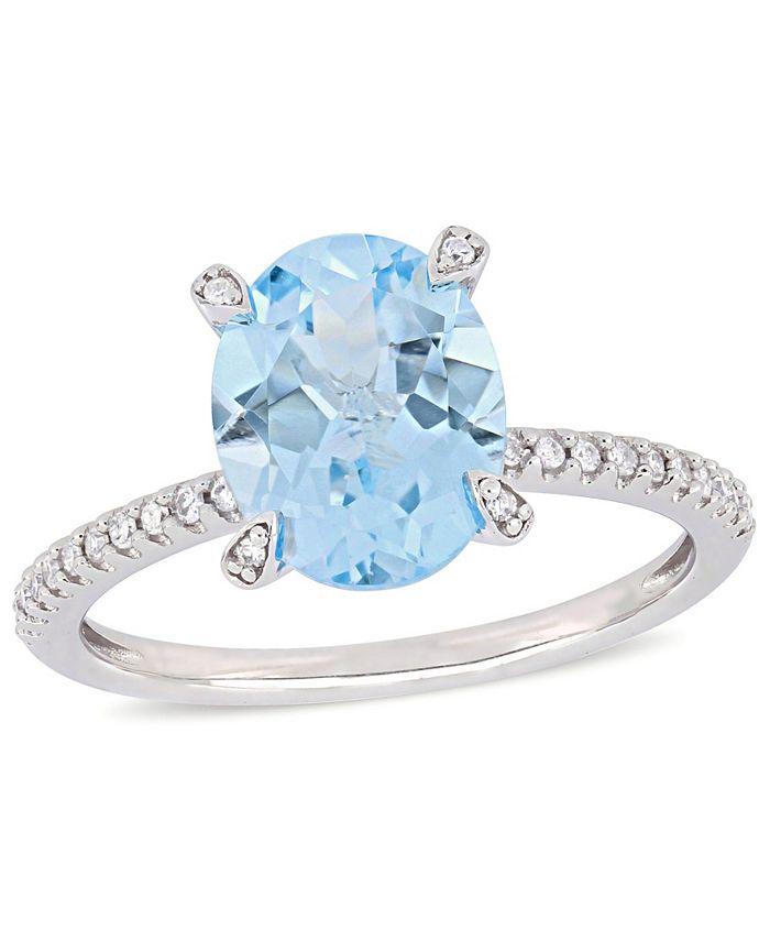 Delmar - Blue Topaz (3-3/4 ct.t.w.) and Diamond (1/10 ct.t.w.) Ring in 10k White Gold