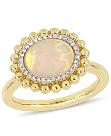 Opal (2 ct.t.w.) and Diamond (1/10 ct.t.w.) Halo Ring in 14k Yellow Gold
