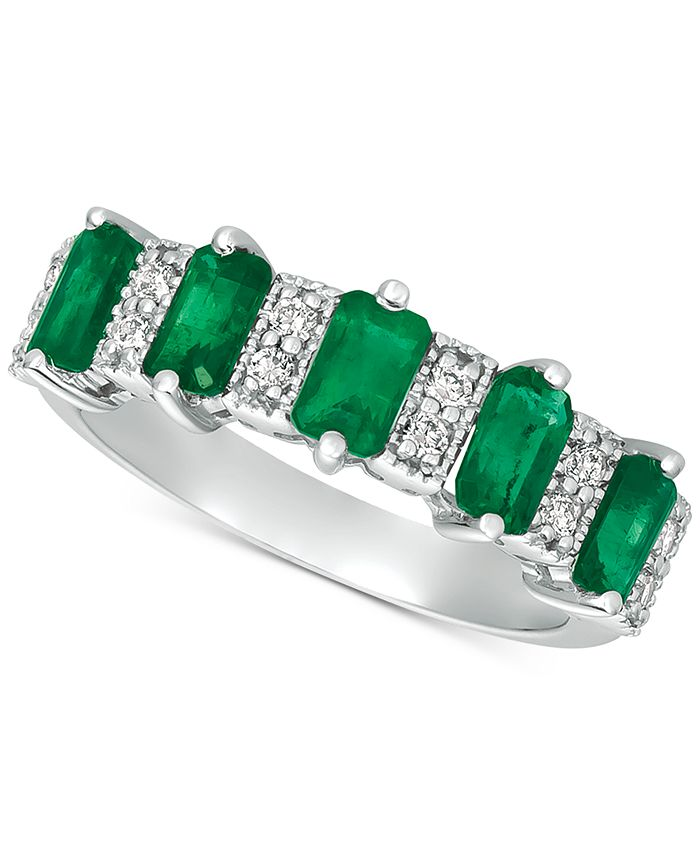 Macy's - Emerald (2-3/8 ct. t.w.) & Diamond (1/6 ct. t.w.) Ring in 14k White Gold