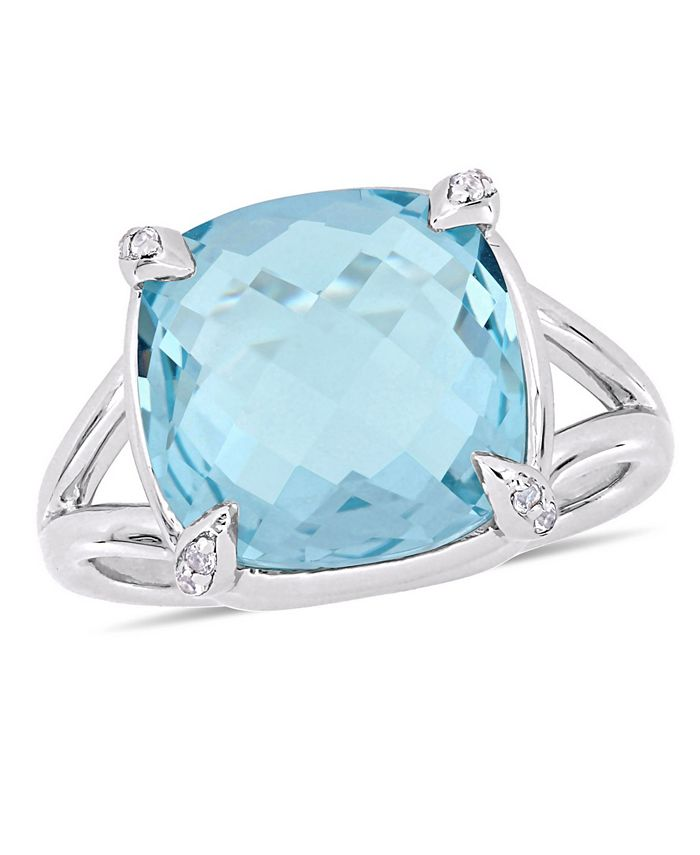 Macy's - Blue Topaz (9 ct.t.w.) and White Topaz (1/20 ct.t.w.) Split Shank Cocktail Ring in Sterling Silver