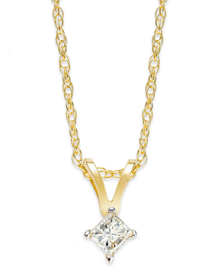 Macy's - 10k Gold Necklace, Diamond Accent Princess-Cut Pendant