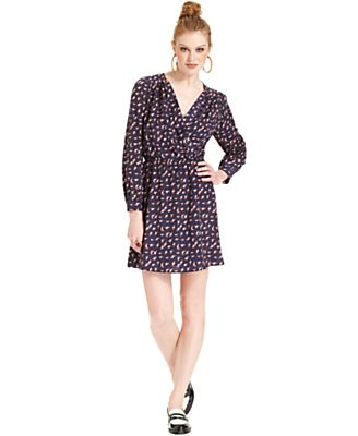 Bar III Dress, Long-Sleeve Printed Faux-Wrap