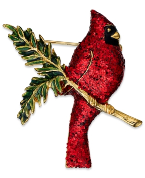 Charter Club Brooch, Gold Tone Red Glitter Cardinal Pin