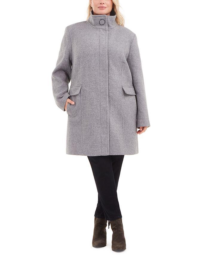 Calvin Klein - Plus Size Stand-Collar Walker Coat