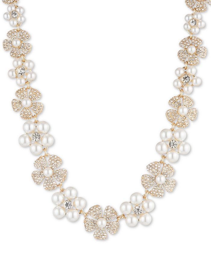 """Anne Klein - Gold-Tone Crystal & Imitation Pearl Flower Strand Necklace, 16"""" + 3"""" extender"""