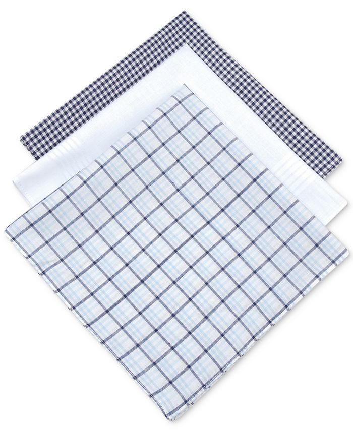 Club Room - Men's 3-Pc. Check Handkerchief Set