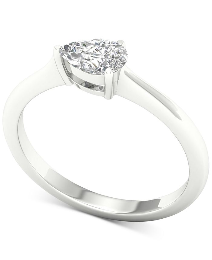 Macy's - Diamond Pear Solitaire Ring (1/3 ct. t.w.) in 14k White Gold